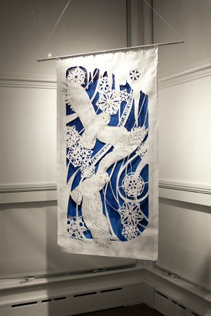 "Margo Lemieux, ""The North Wind Flies on Snow White Wings"", cut paper, acrylic, marker"