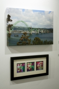 "Michele Kosboth, ""Aquilegia"" & ""Yachina Bay Bridge"", photography"