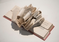 "Wayne Kleppe, ""Danielle 2"", altered book: cut, formed and folded"