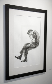 "Adrian Rodriguez, ""Seated Figure"", Sumi ink on paper"
