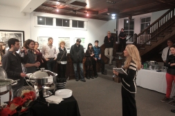 Carolyn Muskat speaking at the opening of the Creative Paths exhibition.