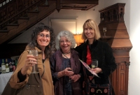 Margie Mitlin, Margo Lemieux and Amy Woods at the opening reception.