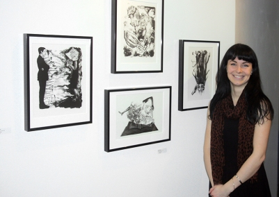 "Artist Katie O'Brien with her lithographs from the series ""Speaks""."