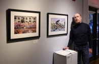 "Professor Mark Roberts and his photographs ""Boston Marathon"" and ""Peloton"""